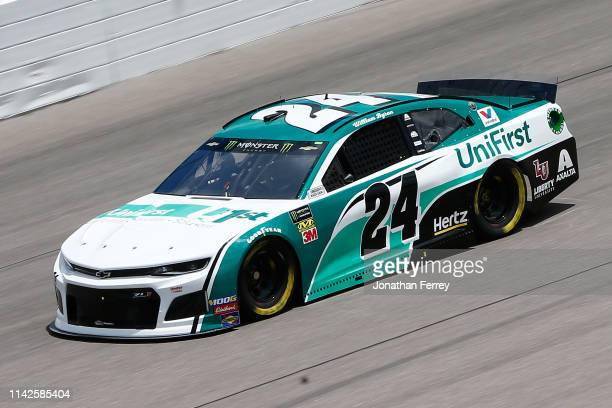 William Byron driver of the UniFirst Chevrolet drives during practice for the Monster Energy NASCAR Cup Series Digital Ally 400 at Kansas Speedway on...