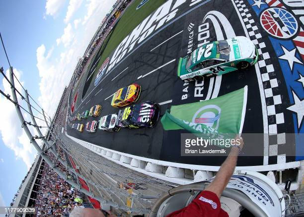 William Byron driver of the UniFirst Chevrolet lead the field to the green flag start of the Monster Energy NASCAR Cup Series Bank of America ROVAL...