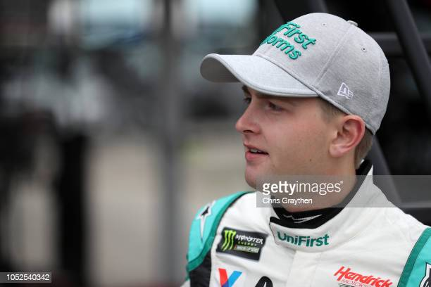William Byron driver of the Unifirst Chevrolet prepares to drive during practice for the Monster Energy NASCAR Cup Series Hollywood Casino 400 at...