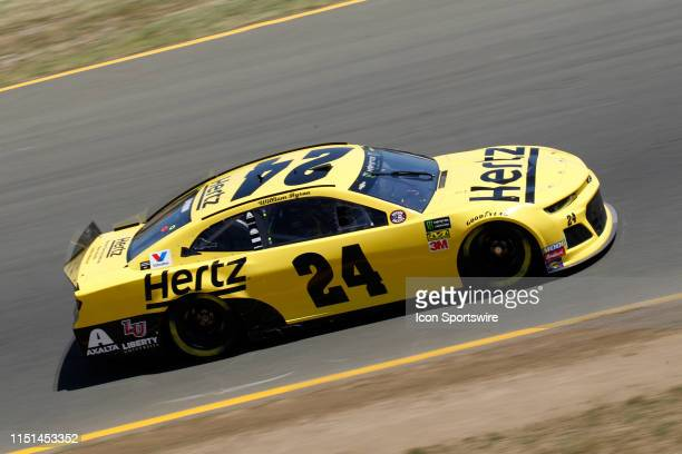 William Byron, No. 24 Hertz Chevrolet for Hendrick Motorsports makes his way towards the Carousel during practice for the Monster Energy NASCAR...