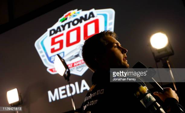 William Byron speaks to the media during the Monster Energy NASCAR Cup Series 61st Annual Daytona 500 Media Day at Daytona International Speedway on...