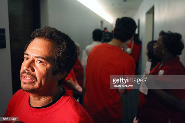 William Cabrera and other homeowners and ACORN activists gather outside the new offices of the forprofit loan modification service company Centre...