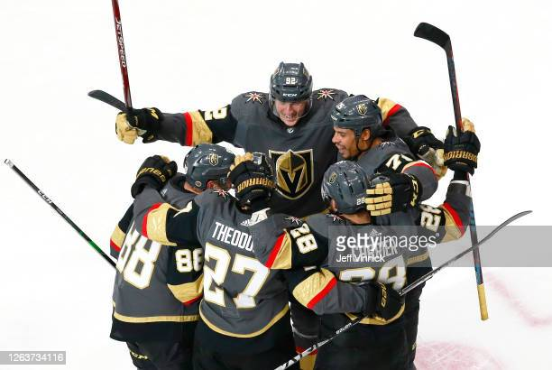William Carrier of the Vegas Golden Knights is congratulated by teammates Shea Theodore,Nate Schmidt,Tomas Nosek and Ryan Reaves of the Vegas Golden...