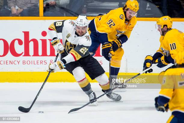 William Carrier of the Vegas Golden Knights skates against the Nashville Predators during an NHL game at Bridgestone Arena on January 16 2018 in...