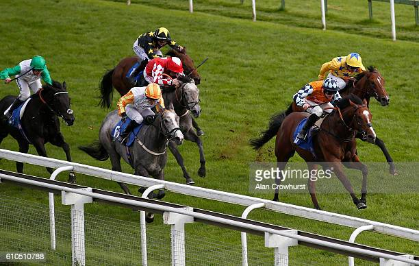 William Carson riding Marquee Club win The Nash Consultancy Nursery Handicap Stakes at Bath Racecourse on September 26 2016 in Bath England