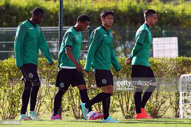 William Carvalho Andre Carrillo Junya Tanaka and Paulo Lopes arrive for a Sporting Club de Portugal training session ahead of their UEFA Champions...