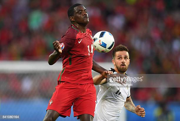 William Carvalho of Portugal controls the ball on his chest during the UEFA EURO 2016 Group F match between Portugal and Austria at Parc des Princes...