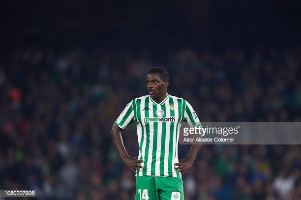 William Carvalho of Real Betis Balompie looks on during the La Liga match between Real Betis Balompie and Rayo Vallecano de Madrid at Estadio Benito...