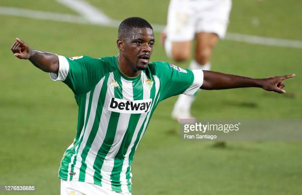 William Carvalho of Real Betis celebrates after scoring his team's second goal during the La Liga Santander match between Real Betis and Real Madrid...