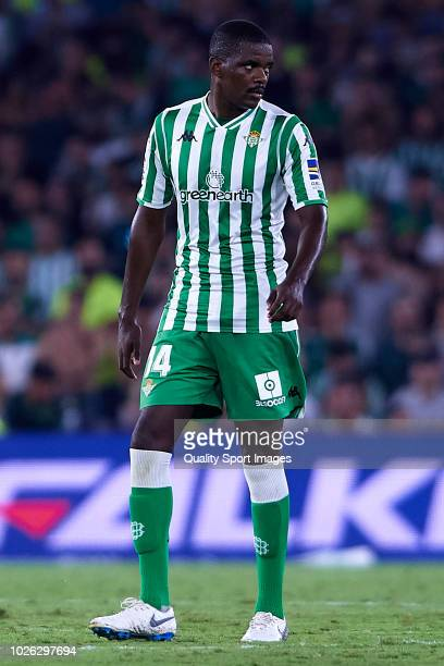 William Carvalho of Real Betis looks on during the La Liga match between Real Betis Balompie and Sevilla FC at Estadio Benito Villamarin on September...