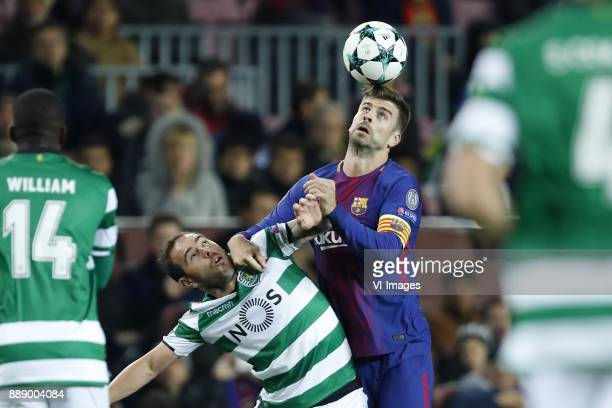William Carvalho of Sporting Club de Portugal Bruno Cesar of Sporting Club de Portugal Gerard Pique of FC Barcelona during the UEFA Champions League...