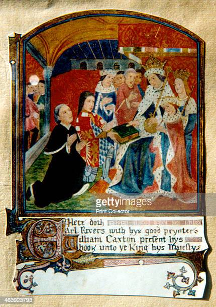 William Caxton English printer presenting a book to King Edward IV 1477 Caxton presenting the king with what is considered to be the first book...