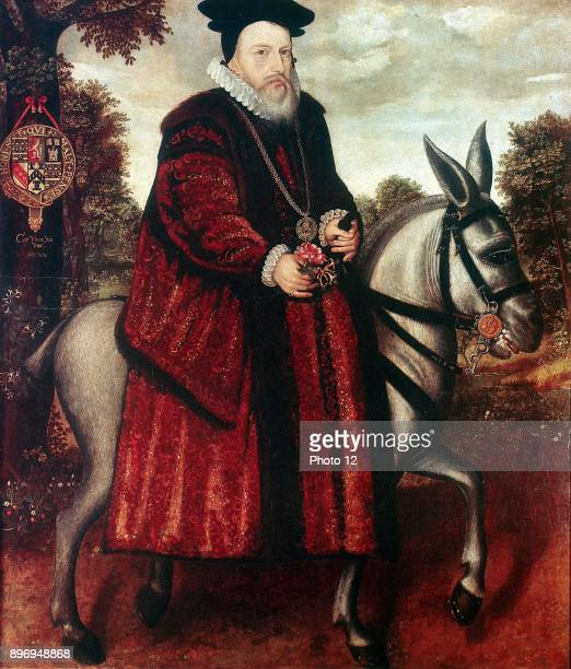 William Cecil 1st Baron Burghley English statesman chief secretary of state to Elizabeth I from 1558 Cecil in crimson robe riding a white mule