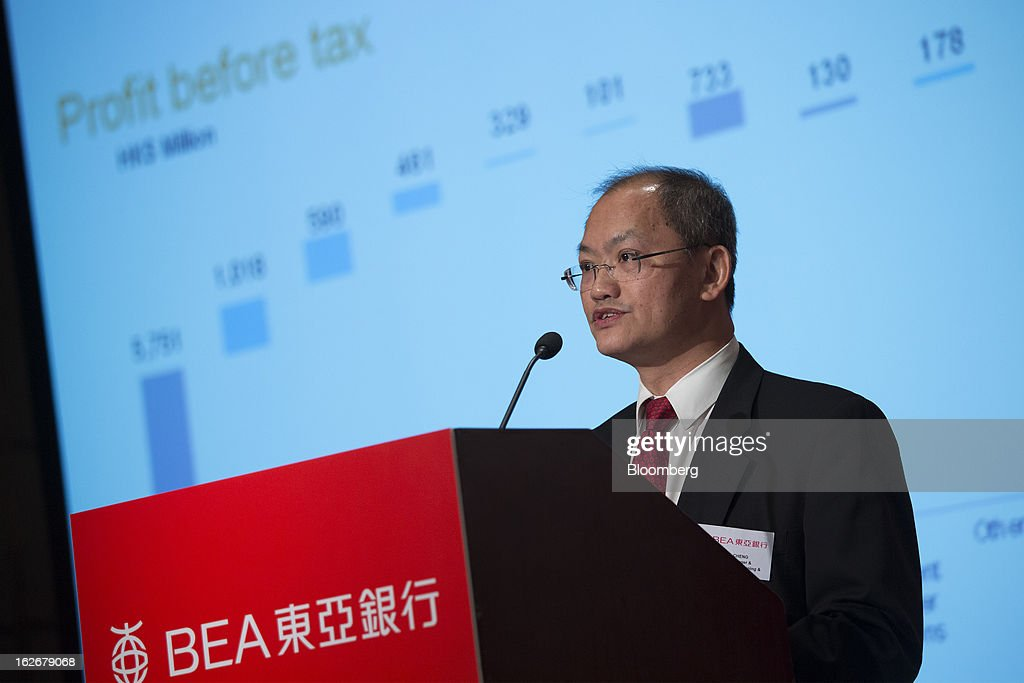 William Cheng, chief financial officer of Bank of East Asia Ltd. (BEA), speaks during the company's annual results news conference in Hong Kong, China, on Tuesday, Feb. 26, 2013. Bank of East Asia, Hong Kong's largest family-run lender, said 2012 profit jumped 39 percent as trading income climbed, helping offset a decline in profit from the mainland China business. Photographer: Jerome Favre/Bloomberg via Getty Images