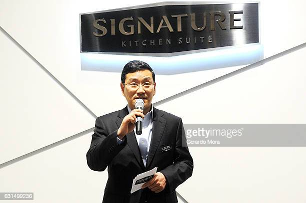William Cho US CEO of Signature Kitchen Suite and CEO of LG Electronics North America speaks at Signature Kitchen Suite booth during 2017 Kitchen and...