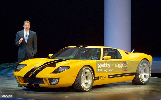 William Clay Ford Jr Chairman and CEO of Ford Motor Company introduces the new Ford GT40 concept car at the 2002 North American International Auto...