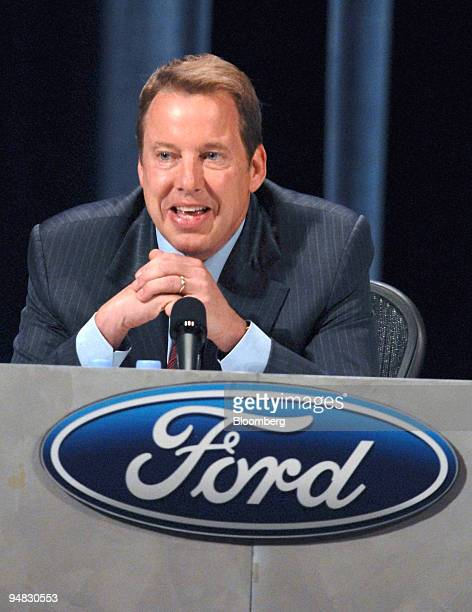 William Clay Ford Jr executive chairman of Ford Motor Co speaks to shareholders at the 2008 Ford Motor Co Annual shareholders meeting in Wilmington...
