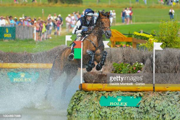 William Coleman of the United States riding Obos O'Reilly during the obstacle in the water of the Cross Country test DHLPrize in the park of the CHIO...