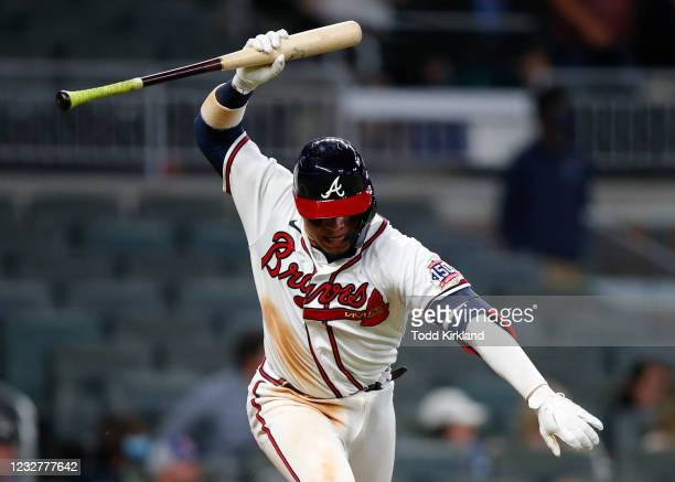 William Contreras of the Atlanta Braves reacts after hitting a three run double in the 12th inning of an MLB game against the Philadelphia Phillies...
