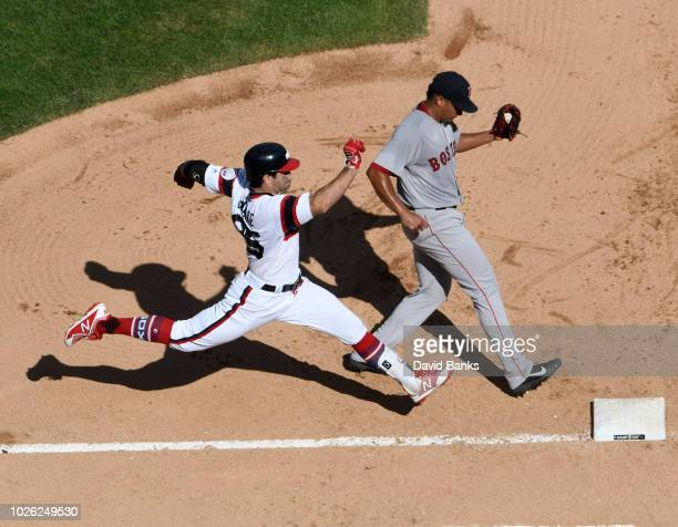 William Cuevas of the Boston Red Sox forces out Ryan LaMarre of the Chicago White Sox during the fifth inning on September 2 2018 at Guaranteed Rate...