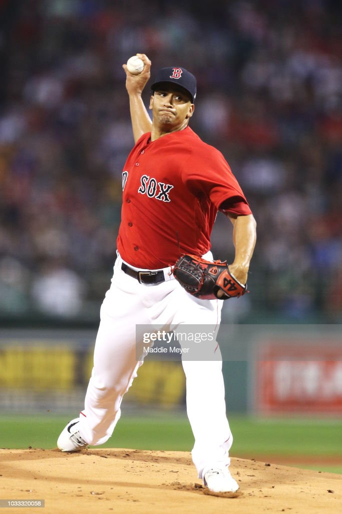 William Cuevas #67 of the Boston Red Sox pitches against the New York Mets during the first inning at Fenway Park on September 14, 2018 in Boston, Massachusetts.