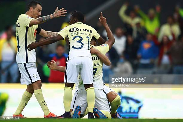 William Da Silva of America celebrates after scoring the first goal of his team during the quarter finals first leg match between America and Chivas...