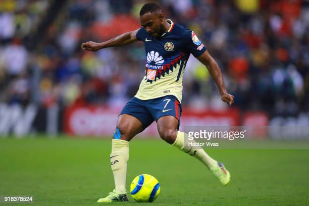 William Da Silva of America kicks the ball during the 7th round match between America and Monarcas as part of the Torneo Clausura 2018 Liga MX at...