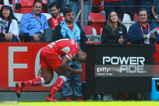 William Da Silva of Toluca celebrates after scoring the first goal of his team during the 13th round match between Toluca and Monterrey as part of...