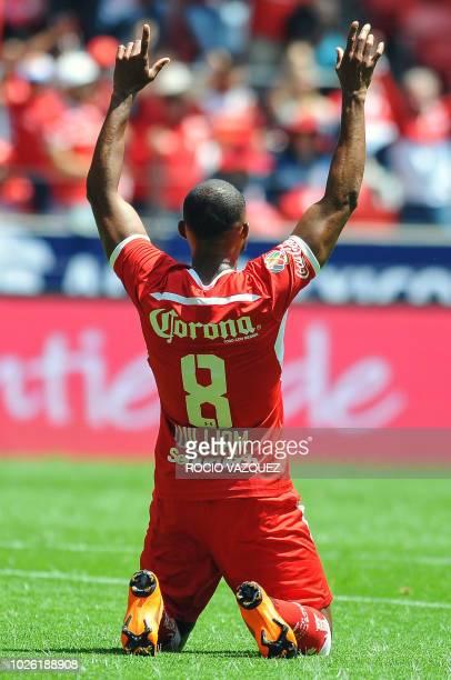 William Da Silva of Toluca celebrates his goal against Santos during the Mexican Apertura 2018 tournament football match at the Nemesio Diez stadium...
