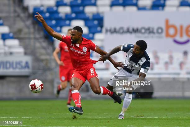 William Da Silva of Toluca fights for the ball with Dorlan Pabon of Monterrey during the 1st round match between Monterrey and Toluca as part of the...