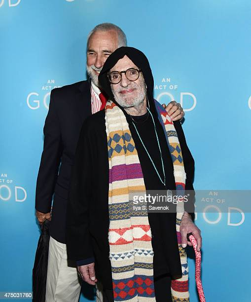 William David Webster and Larry Kramer attend An Act Of God Broadway Opening Night on May 28 2015 in New York City