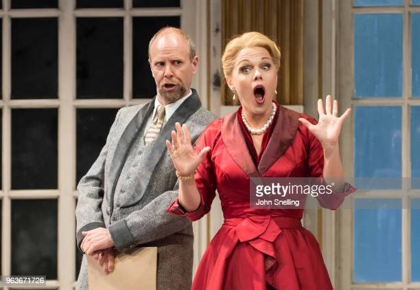 William Dazeley as The Count and Miah Persson as The Countess perform on stage during a performance of 'Capriccio' by Richard Strauss at Garsington...