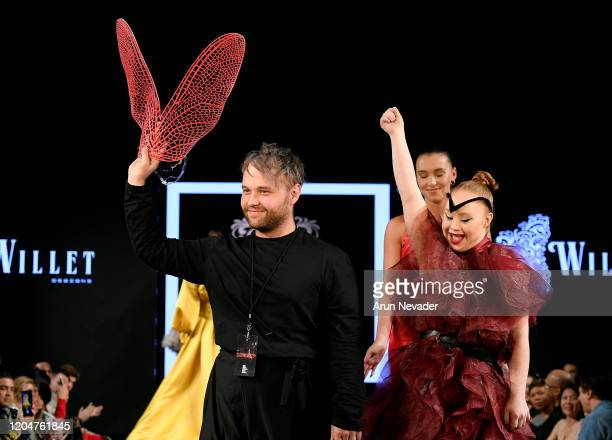 William de Beer and Madeline Stuartl walk the runway during Willet Designs At New York Fashion Week Powered By Art Hearts Fashion NYFW 2020 at The...