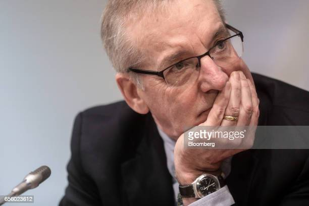 William Dudley president and chief executive officer of the Federal Reserve Bank of New York pauses during panel discussion on banking ethics at the...