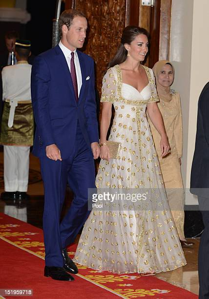 William, Duke of Cambridge and Catherine, Duchess of Cambridge attend an official dinner hosted by Malaysia's Head of State Sultan Abdul Halim...