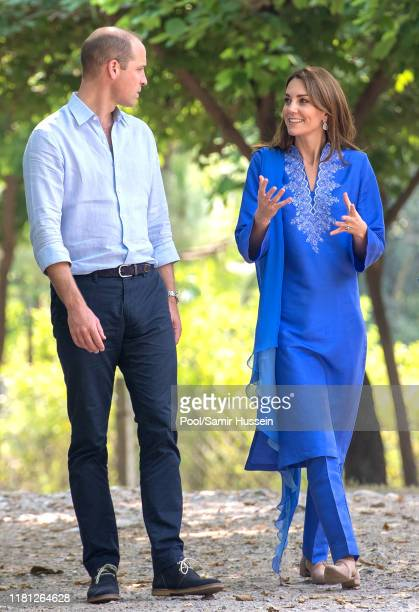 William Duke of Cambridge and Catherine Duchess of Cambridge visit the Margalla Hills National Park which sit in the foothills of the Himalayas to...