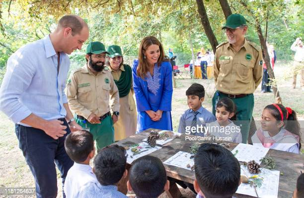 William, Duke of Cambridge and Catherine, Duchess of Cambridge visit the Margalla Hills National Park, which sit in the foothills of the Himalayas,...