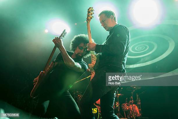 William DuVall and Jerry Cantrell of Alice in Chains performs at Alexandra Palace on November 9 2013 in London England