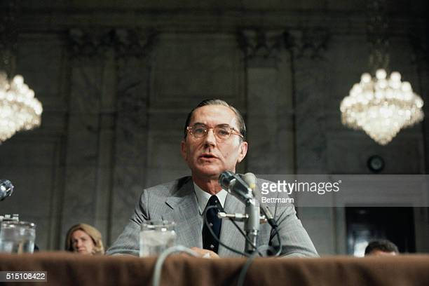 William E Colby appears before the Senate Armed Services Committee on his nomination to be director of the Central Intelligence Agency He promised...