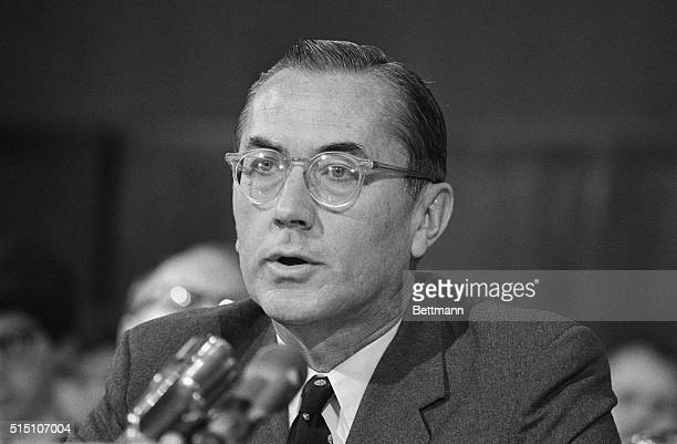 William E Colby head of the CIA's pacification program in Vietnam testifies before a senate Judiciary subcommittee on refugees in Indochina 4/21