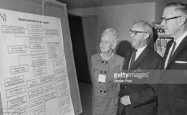 William E. Rhodes, Center, Discusses Council Organization With Mrs. Anna Petteys, Wilburn West 'Rhodes is a member of the executive committee of the...