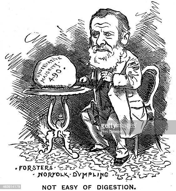 William Edward Forster, British Liberal politician, 1879. Forster's Norfolk Dumpling, not Easy of Digestion. Forster is seen sitting down to a meal...