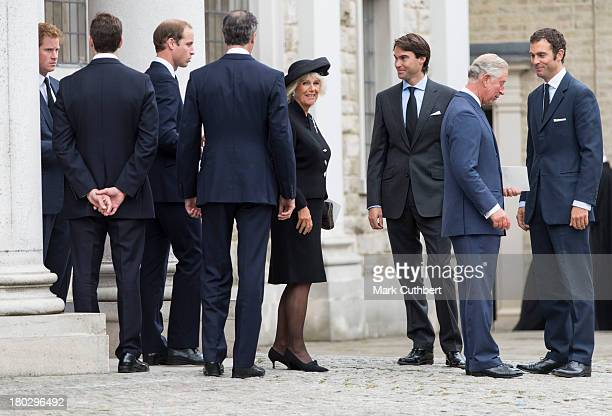 William Edward Hugh Jnr and Nicholas van Cutsem with Prince William Prince Harry Prince Charles Prince of Wales and Camilla Duchess of Cornwall...