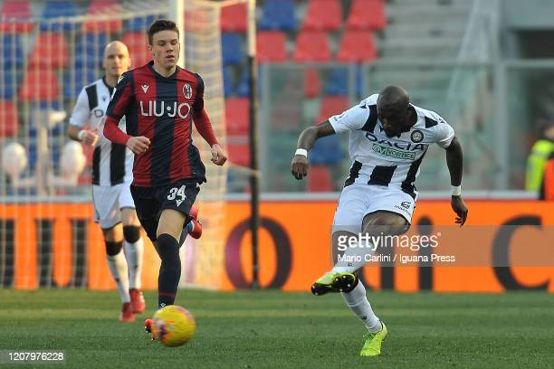 William Ekong Troost of Udinese Calcio in action during the Serie A match between Bologna FC and Udinese Calcio at Stadio Renato Dall'Ara on February...