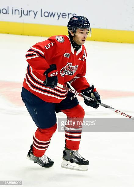 William Ennis of the Oshawa Generals skates against the Mississauga Steelheads during game action on October 25 2019 at Paramount Fine Foods Centre...