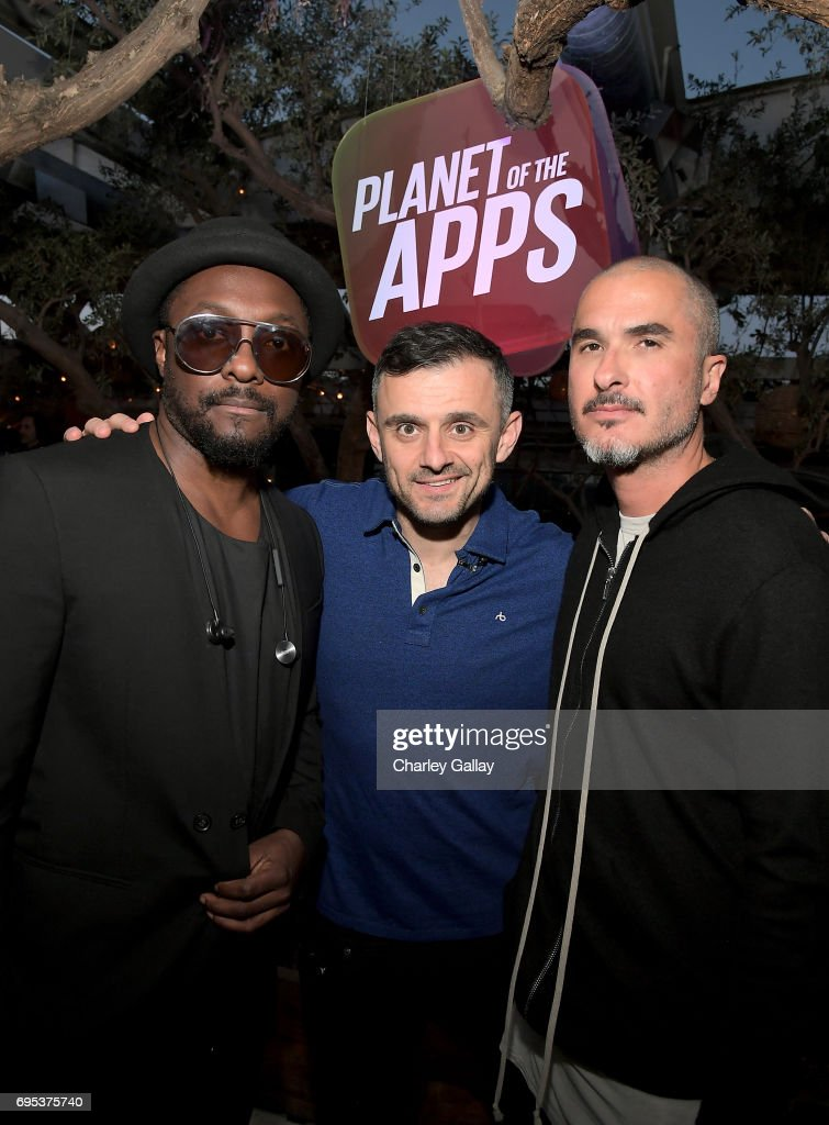 will.i.am, entrepreneur Gary Vaynerchuk, and Zane Lowe, Beats 1 Anchor and Creative Director, attend Apple Music's Planet of the Apps Party at Soho House on June 12, 2017 in West Hollywood, California.