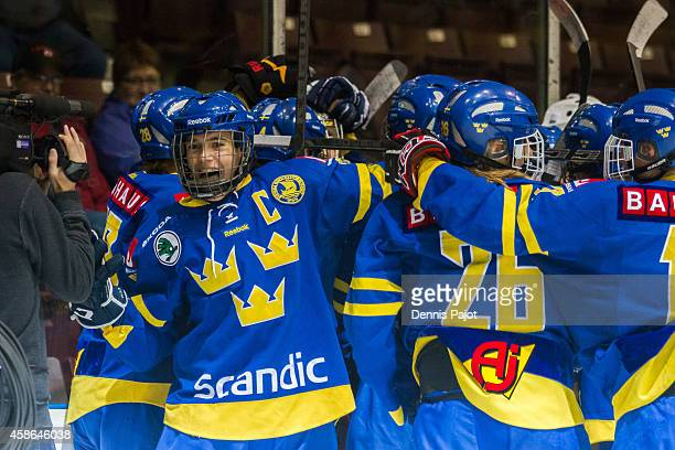 William Fallstrom of Sweden celebrates after a win over Finland during the bronze medal game at the World Under-17 Hockey Challenge on November 8,...