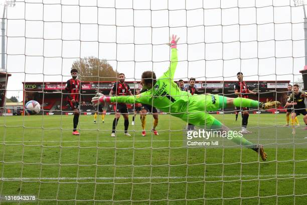 William Forrester of Stoke City scores their side's first goal past Asmir Begovic of AFC Bournemouth during the Sky Bet Championship match between...