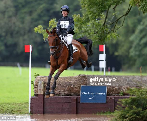William FoxPitt competes on his horse 'Georgisaurous' in the cross country phase of the Whatley Manor Horse Trials at Gatcombe Park on September 10...