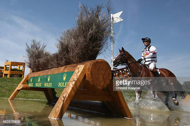 William FoxPitt of GreatBritain rides on Chilli Morning during the DHL Price Cross Country Test at Aachener Soers on July 19 2014 in Aachen Germany